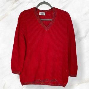 Vtg Missoni sport large knit sweater red v-neck
